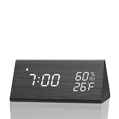 Digital Alarm Clock, with Wooden Electronic LED Time Display, 3 Alarm Settings, Humidity & Temperature Detect, Wood Made Electric Clocks for Bedroom, Bedside… (Black)