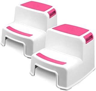 Two Step Kids Step Stools - 2 Pack, Pink - Child, Toddler Safety Steps for Bathroom, Kitchen and Toilet Potty Training - Non Slip Feet, Textured Friction Grip, Carrying Handle, Stackable