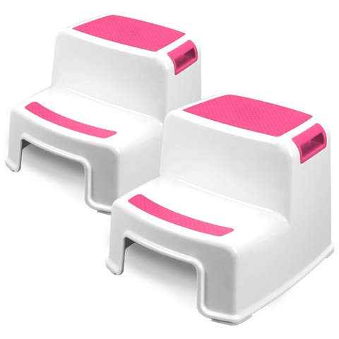 Two Step Kids Step Stools - 2 Pack, Pink - Child, Toddler Safety Steps for Bathroom, Kitchen and...