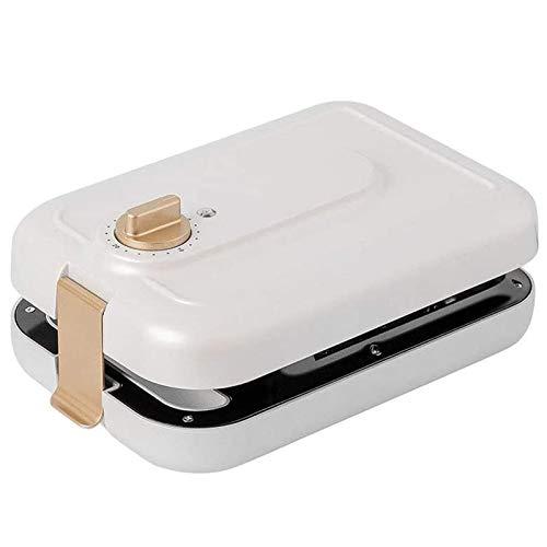 MEYLEE Sandwichera eléctrica 3 en 1 para Desayuno, waflera, Parrilla de albóndigas, con Platos antiadherentes Desmontables, Temporizador para el hogar, Blanco Dorado