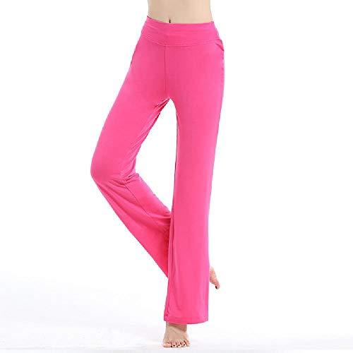 Pantalones de baile U/A, pantalones de fitness, pantalones de yoga grandes, pantalones sueltos para mujer, para verano y primavera, micro altavoz Rosa rosa (b) XL