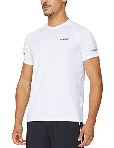 BALEAF Men's Quick Dry Short Sleeve T-Shirt Running Workout Shirts White Size M