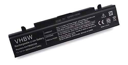 vhbw Li-ION Batterie 6600mAh (11.1V) Noir pour Notebook, Laptop Samsung RF411, RF510, RF510 S01, RF510 S02 comme AA-PB9NC6B, AA-PB9NC6W, AA-PB9NS6B.