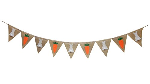Easter Decoration Banner Seasons Treasure 9ft Handmade Burlap Banner Garland 100% Home Decor Burlap Banner (Easter)