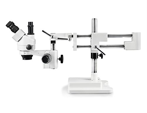 Vision Scientific VS-5F Simul-Focal Trinocular Zoom Stereo Microscope, 10x Widefield Eyepiece, 0.7X—4.5X Zoom Range, 7X—45x Magnification Range, Double Arm Boom Stand
