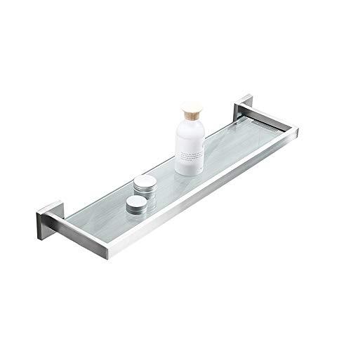 Kcakek Badkamer 304 roestvrij staal Planchet muur bevestigde badkamer Single-layer Glas kaptafel HCT gehard glas Nailless Drilling eenvoudig te installeren (Size : 300mm)