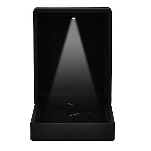 TMISHION LED-Licht Ring Box, 2 Arten moderner LED-Ringkasten - LED-Leuchtkasten-Schmuck-Ausstellungsstand, Ring- / hängender Kasten, für Heiratsantrag, Verlobung und Hochzeit(Blau -90 * 70 * 35)