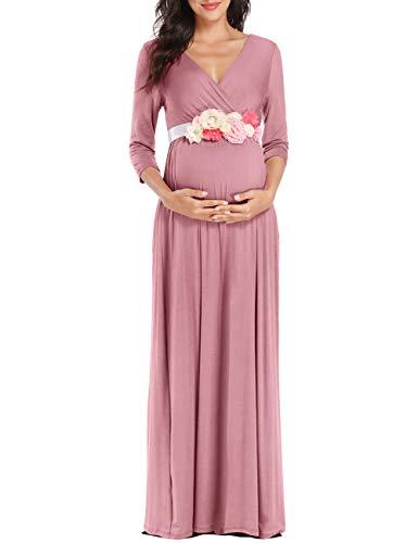 KIM S Maternity Dress for Photoshoot Maxi Dresses Baby Shower Dusty Pink Medium