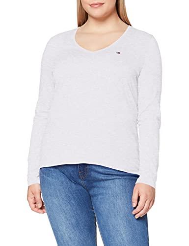 Tommy Jeans Tjw Jersey V Neck Longsleeve Camisa, Gris (Silver Grey Htr), L para Mujer