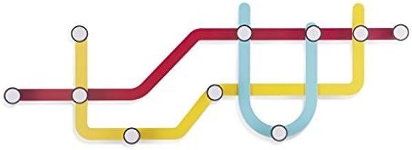 Umbra Subway Wall Hook - Multicolored Modern Public Transit Maps Shape Coated Steel 10-Hooks Wall Hanger - Easy To Mount, ...