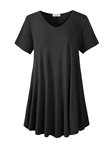 LARACE Tunics Short Sleeve Plus Size Casual Tops for Women V Neck Loose Fit Flowy Clothing for Leggings(Black 2X)
