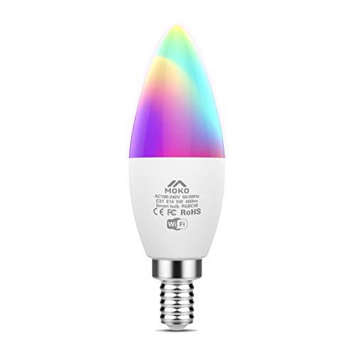 MoKo WiFi LED Bombilla Inteligente, E14 5W Base de Lámpara de...