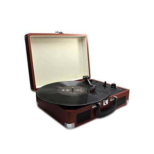 METRONIC 477181 Platine Vinyle 33 45 78 Tours avec Haut-parleurs intégrés et connectique RCA, Prise Casque - Marron