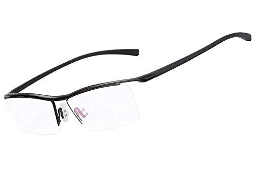 LUOMON Customize Prescription Glasses Men 54mm Semi Rimless Plain Eyeglasses with Black TR90 Unbreakable Frame EG001