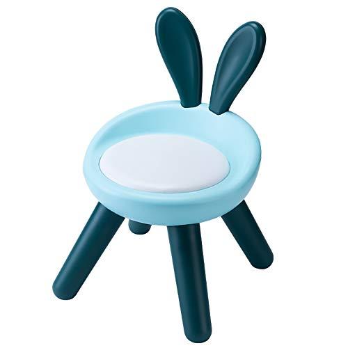 Camisin - Sgabello in plastica con supporto per la schiena, antiscivolo, con 4 piedi, per bambini e bambini, sedia a forma di coniglio, colore: blu