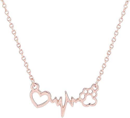 TYWZH Collar Lindo Mascotas Perros Huellas Pata corazón Amor Cadena Colgante Collar Collares y Colgantes joyería para Mujeres Collar de declaración K