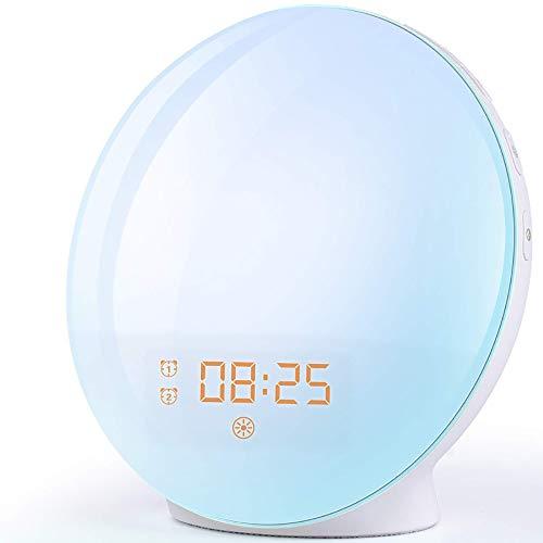 VBARV LED elektronischer Wecker Wecklicht - Sonnenaufgang/Sonnenuntergang Simulation Tisch Nachttischlampe Augenschutz, Touch Control Funktion buntes Nachtlicht (weiß)
