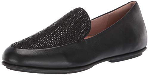 FitFlop Women's Lena Crystal Loafers Flat, All Black, 8 M US