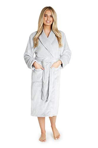 CityComfort Bademantel Damen, Morgenmantel, Saunamantel für Spa, Kimono Damen, Vielfaltige Design, Kuschelig Warm Hausanzug mit Kapuze und Taschen, Geschenke für Frauen (XL, Hellgrau)