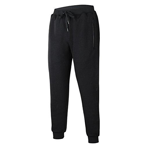 beroy Mens Jogger Pants Basic Active Training Running Gym Workout Pants Zipper Pockets Sweatpants(Black,4XL)