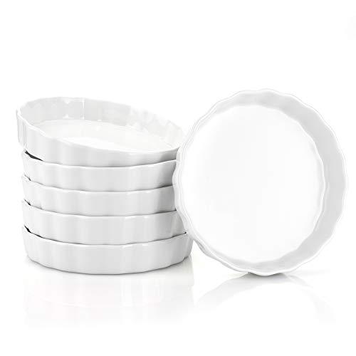 Foraineam 6 Pack Porcelain Ramekins, 8 Ounce Creme Brulee Dish 5.7 Inch Round Shallow Ramekin for Baking