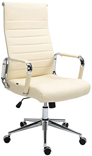 CLP Kolumbus - Silla de oficina giratoria de piel auténtica, con ruedas de marcha suave, color crema