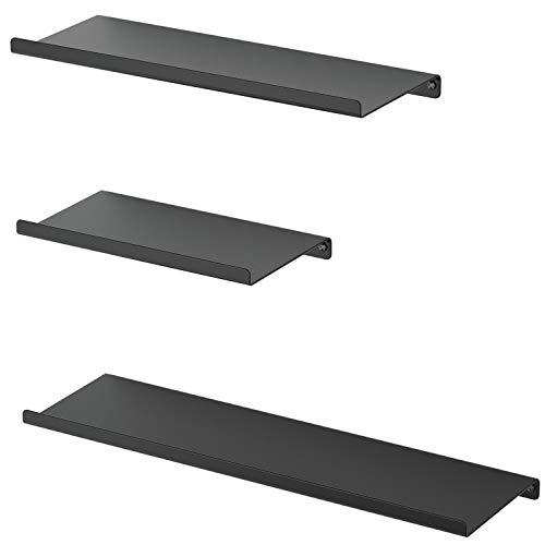 SRIWATANA Black Metal Wall Shelves, Floating Shelves Wall Mounted Set of 3 for Bedroom, Living Room, Bathroom, Kitchen, Matte Black Nevada