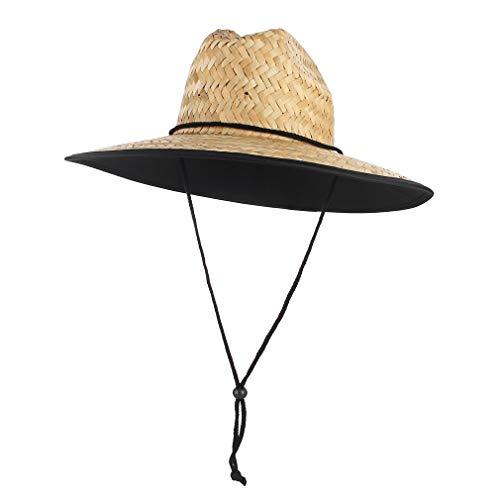 GEMVIE Straw Hat for Men and Women Lifeguard Sun Hat Summer Beach Hat Wide Brim Pure Black Patch Print