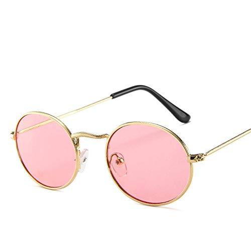 Gafas de Sol Oval Trend Gafas de Sol Gafas de Moda Hombres Y Mujeres Gafas De Sol Multifuncionales Gafas De Sol Universal-Goldpink