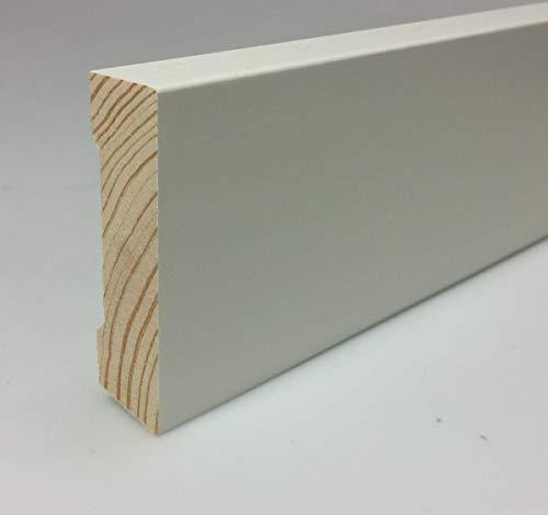 Zócalo blanco de madera Hamburgo perfil lacado clásico de pino 16 x 58 mm pie – 3 x listones de 2400 mm – TOTAL 7,2 metros – KIE-1658-S3-2400
