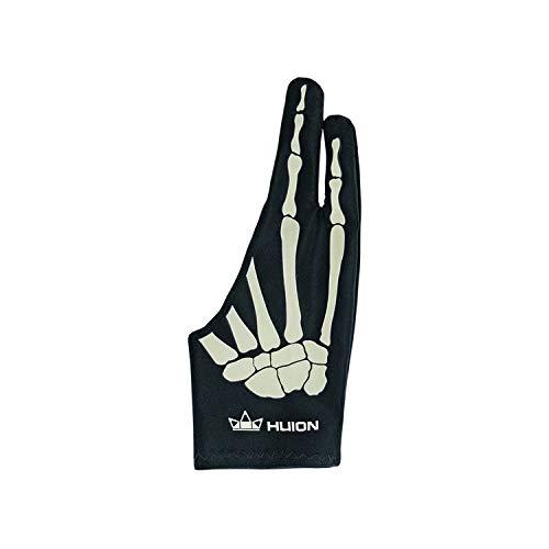 HUION お絵描き手袋GL04二本指 骨 スケルトン 誤動作防止 摩擦軽減 防汚1本入り タブレット、ペンタブレット用グローブ 左利き・右利き通用 フリーサイズ 男女兼用 便利 ブラック