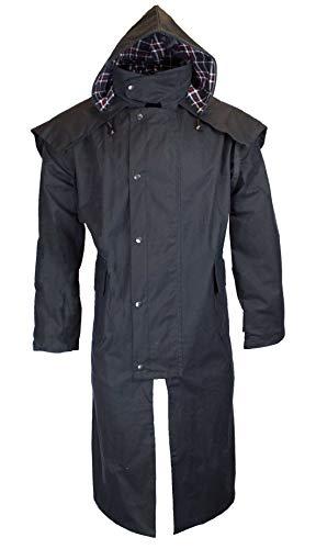 pas cher un bon Walker & Hawks – Stockman Long Wax Jacket – Unisexe – Cape Style – Capuche – Bleu foncé – 2XL