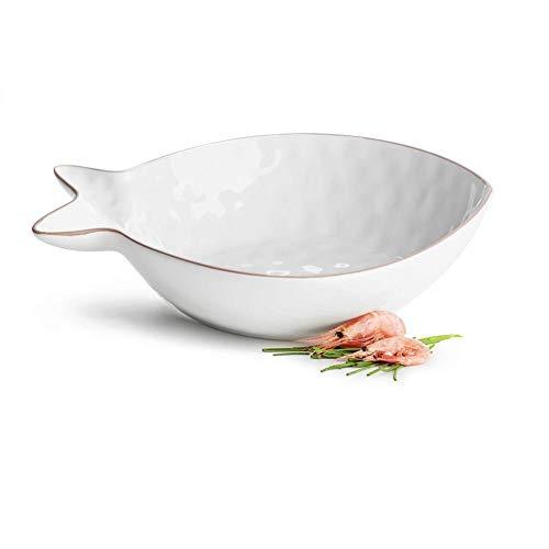 Sagaform Fisch Servierschale, Porzellan, Weiß, 31 x 26 x 7 cm