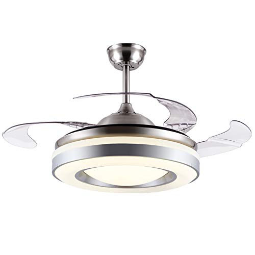 BANBAN Fandelier Modern Ceiling Fan with Lights and Remote, Brushed Nickel Finish Chandelier Fans with 4 Retractable Blades, LED Indoor Fan for Dining Room Bedroom 42 Inches