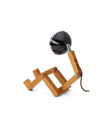 Piffany Mini Mr. Wattson LED-Tischleuchte, elegantes und minimalistisches Design, hochwertige Legierung aus Eschenholz, Fashion Black