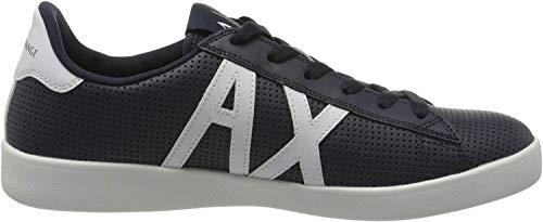 Armani Exchange AX Logo Box Sole Sneakers, Zapatillas para Hombre, Azul (Navy+Opt White A138), 45 EU