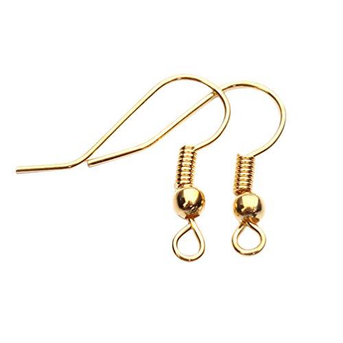 HEALLILY ganchos para pendientes cables para orejas ganchos franceses ganchos para peces de metal diy piezas para pendientes antialérgicas para hacer joyas 200 piezas (dorado)