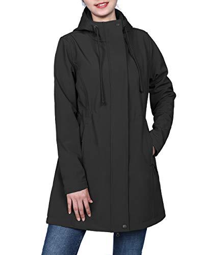 Womens Black Softshell Hooded Lightweight Windproof Fleece Lined Long Jacket