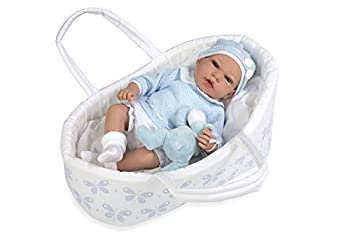 Ann Lauren Dolls 15.2 Inch Baby Doll with Bassinet- Blue