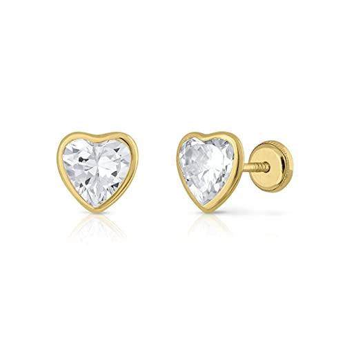 Pendientes Oro de Ley Certificado. Niña/Mujer. Corazón circón 8 mm cierre de rosca de seguridad (1-5235-8)