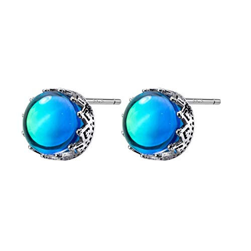 LNSTORE Verdadera Burbuja Cristal de Las Mujeres de la Manera Azul Pendientes de 925 Plata de Ley Pendientes De Moda y Duradero (Metal Color : D)