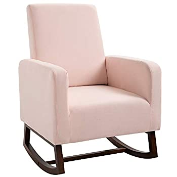 HOMCOM Accent Lounge Rocking Chair with Solid Curved Wood Base and Linen Padded Seat Pink