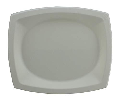 Signature Packaging Súper Rígido Grandes Placas Desechables Blancas - Biodegradables Y Reciclables - Vajilla Orgánica Para Barbacoas, Fiestas Y Picnics, 25 X 21 Cm - 50 Pack