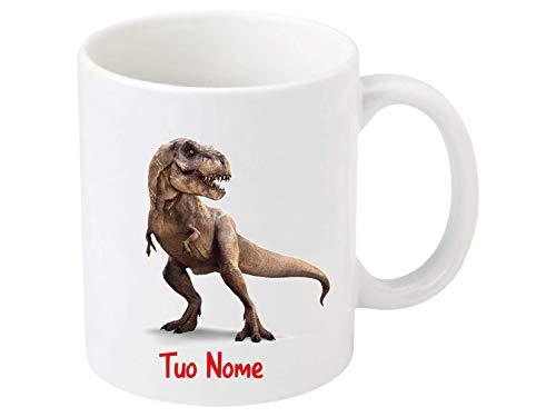 Little Flight Dinosauri T-Rex Tazza in Ceramica personalizabile per MICROONDE da 325 ML per Bevande Calde