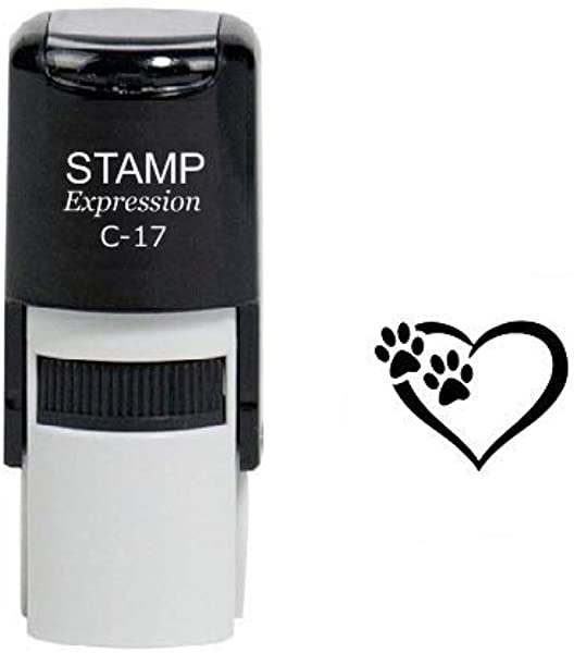 StampExpression Tiny Paw Prints Dog Lover Self Inking Rubber Stamp Black Ink A 6324