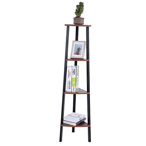 Greensen Hoek Plank Boekenkast Houten Hoge Plank met 4 Planken Ladder Plank in Industrieel Ontwerp Vloerplank met Metalen Frame Plank Hoek Vintage Decoratieve Plank voor Woonkamer Kantoor