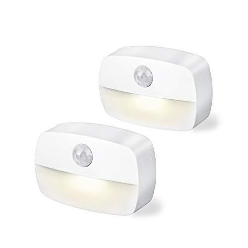 luz de Noche, COOLAPA Luz Nocturna LED con Sensor de Movimiento, Blanco cálido,Funcionan con Pilas, Adecuada para Dormitorio, Habitación Bebé,Baño, Inodoro, Escaleras, Cocina, Pasillo (2Pack)