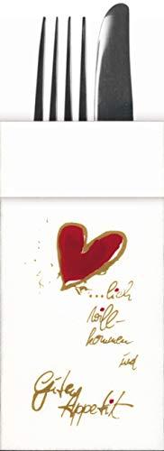 Besteckservietten Herzlich Willkommen aus Premium Airlaid, STOFFÄHNLICH | 100 Stück | 33 x 40 cm |2in1 Bestecktasche | perfekt für jeden Anlass | Hochzeit, Geburtstag, Familienfeier | made in Germany
