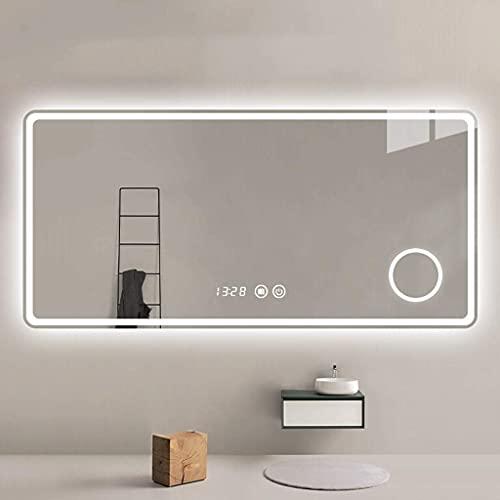 FMOGE Espejos De Tocador De Pared con Luces Luz Led Iluminada Espejo Plateado De Alta Definición Luz Ajustable Táctil Inteligente con Función De Desempañado/Lupa/Tiempo Temperatura