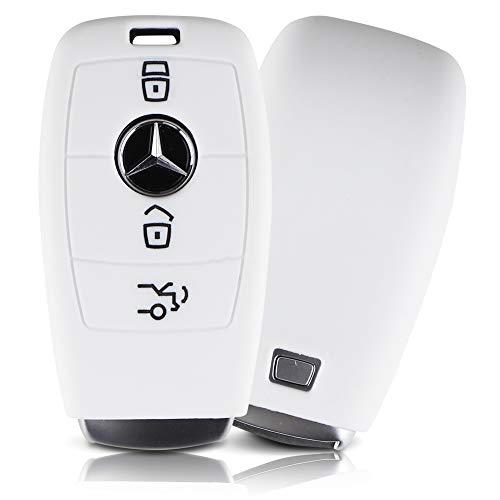 ASARAH Premium Silikon Schlüsselhülle geeignet für Mercedes Benz, Schutzhülle Autoschlüssel Cover - Weiß MB 3BKL-c
